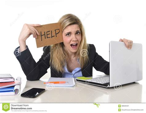 Young Beautiful Business Woman Suffering Stress Working At Office Asking For Help Feeling Tired ...