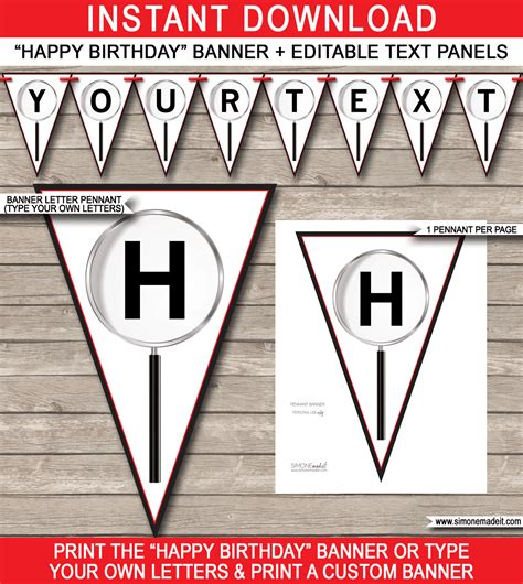 spy party banner template happy birthday bunting pennants