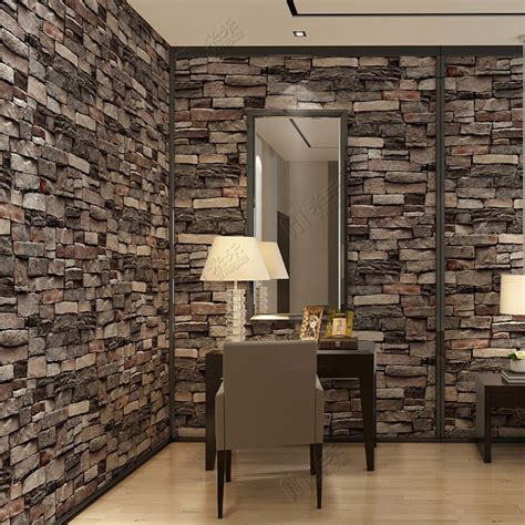 china interior design pvc vinyl  brick wallpaper wall