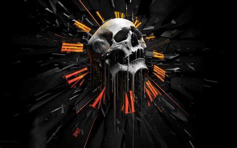 Digital Skull Wallpaper by Artwork Skull Orange Clocks Concept