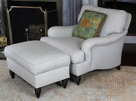 Overstuffed White Upholstered Down Filled Armchair