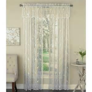 lorraine home songbird ivory lace curtain panel valance