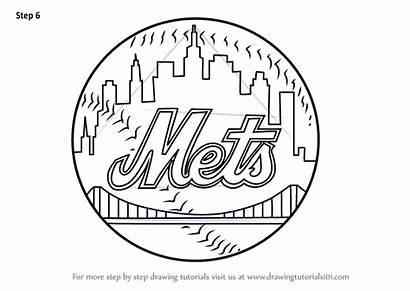 Mets York Draw Drawing Coloring Mlb Printable
