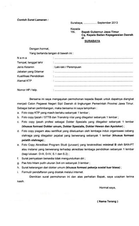 Contoh Surat Lamaran Kerja Kemendikbud 2017 by Info Tes Cpns Contoh Surat Lamaran Cpns 2014