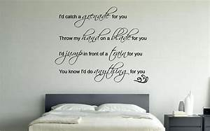 Quote wall stickers for bedrooms : Bruno mars lyrics music wall art sticker decal