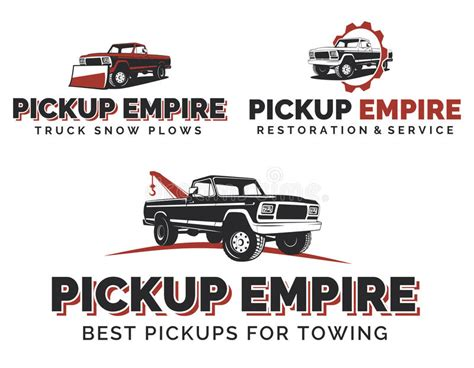Set Of Retro Pickup Trucks Logos, Emblems And Icons. Stock