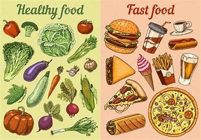Junk Healthy Vs Fast Diet Fruits Vegetables