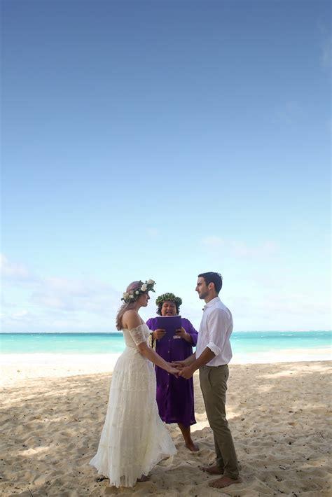 sunset elopement  waimanalo bay  oahu married