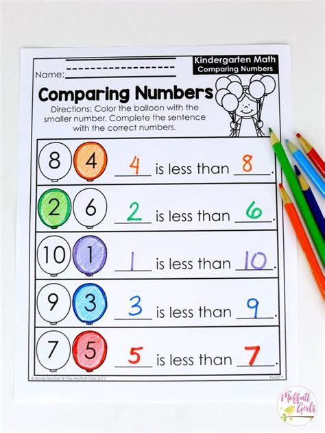 kindergarten math comparing numbers  images math