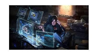 Cyberpunk Computer Futuristic Background Fi Sci Wallpapers