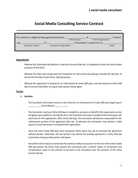 social media consulting service contract  share