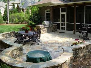 Design your own outdoor dining area garden design for living for Stone patio design ideas