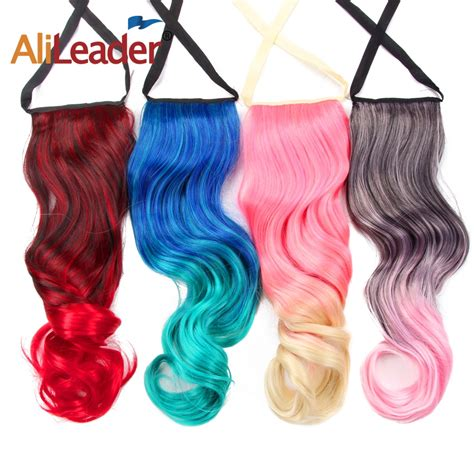 Alileader 20inch Wavy Ribbon Ponytail Extensions Ombre