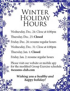 Christmas Holiday Closed Hours Sign