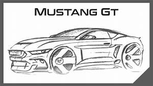How to Draw Cars   2015 Ford Mustang GT Sketch - YouTube