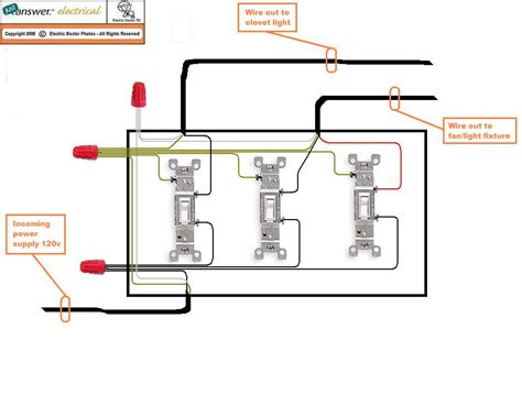 How To Wire 3 Light To One Switch Diagram by I Three Single Pole Switches In A 3 Box Closet