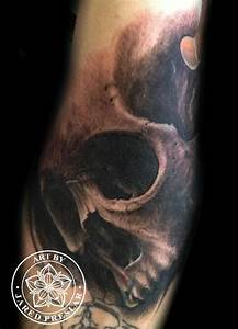 Realistic skull tattoo on forearm by Jared Preslar : Tattoos