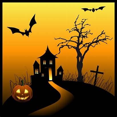Haunted Halloween Clipart Scene Graphics Clip Silhouette
