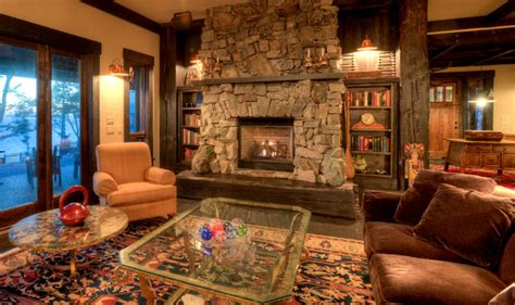 living room  stone fireplace rustic living room