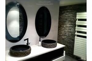 vasque pierre de salle de bain a poser en basalte noir dia With salle de bain design avec vasque en basalte