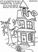 Haunted Coloring Pages Building Colorings Coloringway sketch template