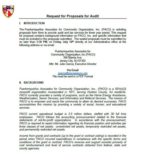 request  proposal rfp  cpa firms paco