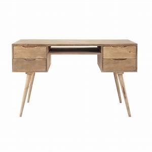 Bureau 130 Cm : scrivania vintage in massello di mango chiaro l 130 cm ~ Teatrodelosmanantiales.com Idées de Décoration