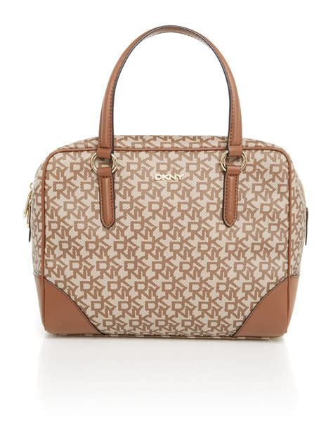 dkny coated logo neutral satchel bag  brown lyst