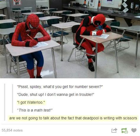 Spiderman Table Meme - deadpool takes a math test funny pictures quotes memes funny images funny jokes funny photos