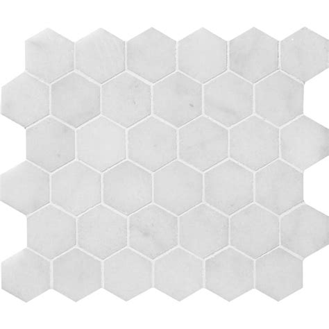 glacier honed hexagon marble mosaics