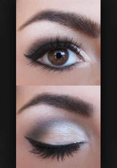 makeup  brown eyes silver dark gray love