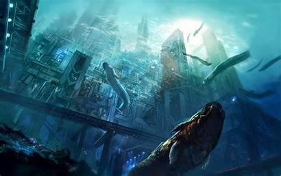 Underwater Fantasy Concept Sea Futuristic Digital Artwork