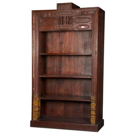 Wood Bookcase by Classic Carved Reclaimed Wood 4 Shelf Open Display