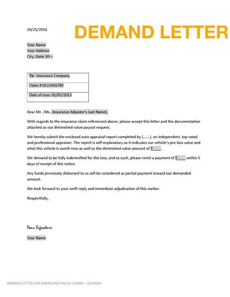 diminished  demand letter claim logistics
