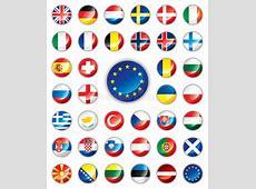 Glossy Button Flags European Stock Vector Illustration