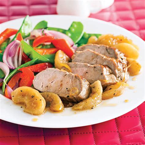 cuisiner longe de porc filet de porc caramélisé aux pommes pour recevoir