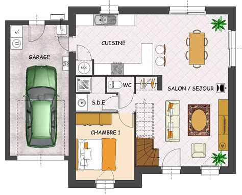 plan de maison à étage 4 chambres plan maison etage avec garage