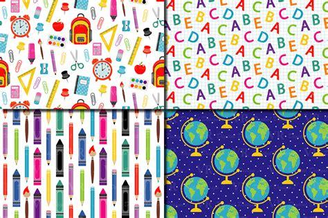 school digital paper school supplies pattern school background teacher printable paper