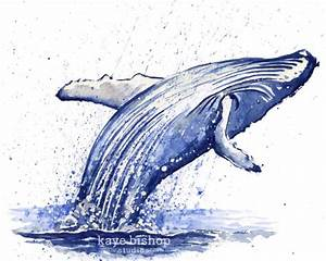 ORIGINAL Whale Watercolor Painting Wall Art Humpback Whale