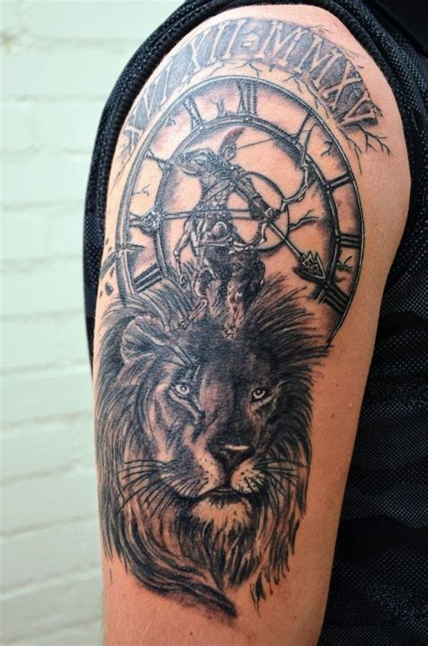 tattoo zodiac sign lion sagittarius clock tattoos
