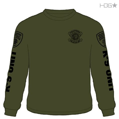 embroidered sleeve t shirt cdcr k 9 unit od green black sleeve t shirt