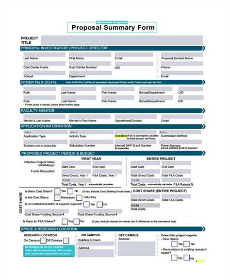 proposal summary form samples  sample