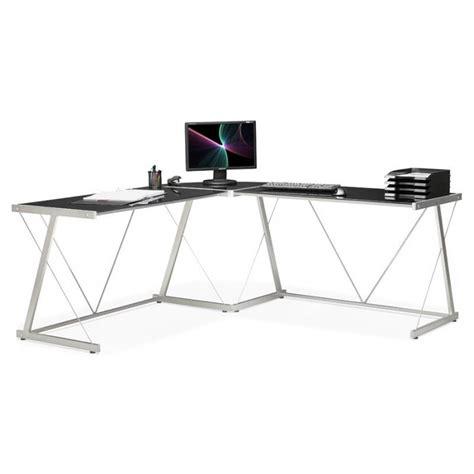 bureau en verre d angle bureau d 39 angle design rovigo en verre et métal noir