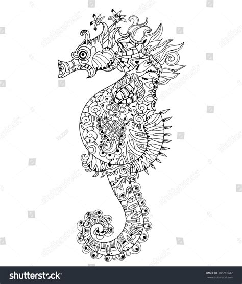 Hand Drawn Doodle Outline Seahorse Decorated Stock Vector