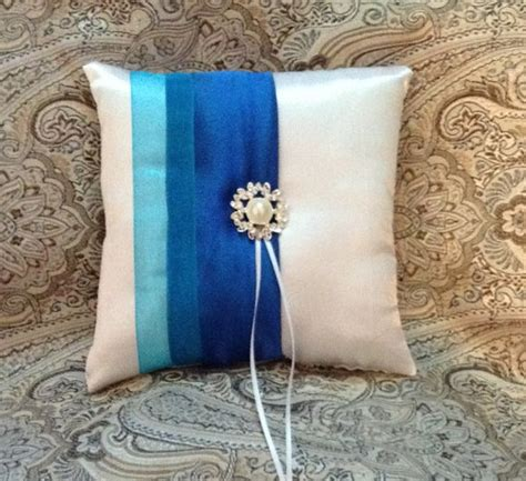 ring bearer pillow custom made white or ivory with royal blue satin 2301630 weddbook