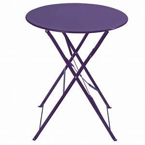 Table Pliante Metal : table pliante de jardin en m tal violette d 58 cm confetti ~ Teatrodelosmanantiales.com Idées de Décoration