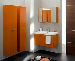 awesome salle de bain orange et blanc pictures amazing With meuble salle de bain marron