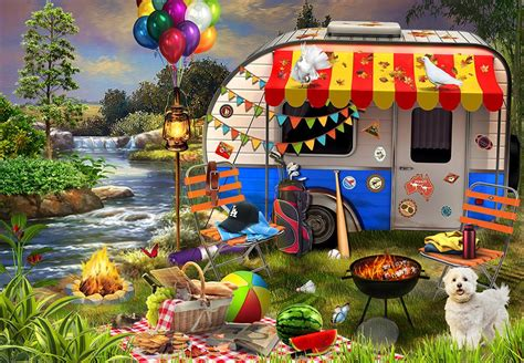 Jigsaw Puzzle Holiday Days - Caravanning 1000 Piece|Puzzle ...