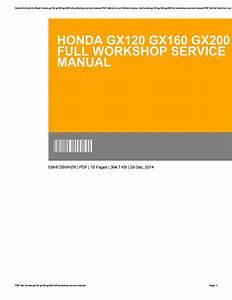 Honda Gx200 Service Manual Free