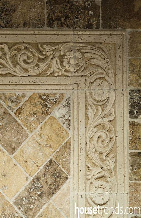 decorative stone border pieces create  elegant